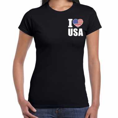 Originele i love usa t shirt amerika zwart borst dames carnavalskleding