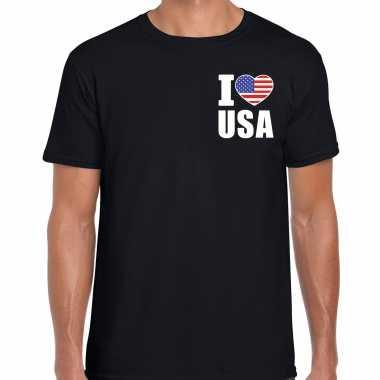 Originele i love usa t shirt amerika zwart borst heren carnavalskleding