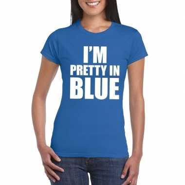 Originele i'm pretty blue t shirt blauw dames carnavalskleding