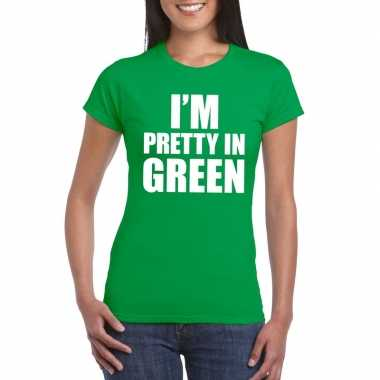 Originele i'm pretty green t shirt groen dames carnavalskleding