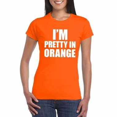 Originele i'm pretty orange t shirt oranje dames carnavalskleding