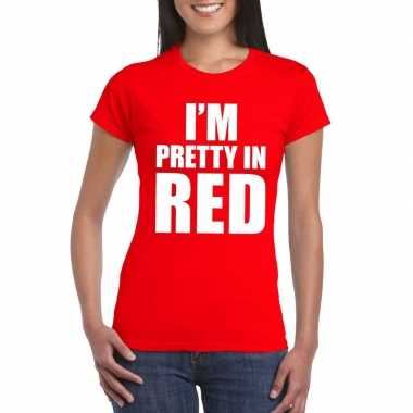Originele i'm pretty red t shirt rood dames carnavalskleding