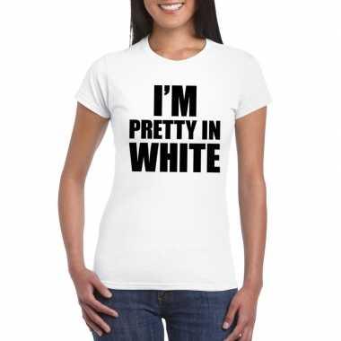 Originele i'm pretty white t shirt wit dames carnavalskleding