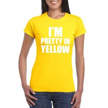 Originele i'm pretty yellow t shirt geel dames carnavalskleding