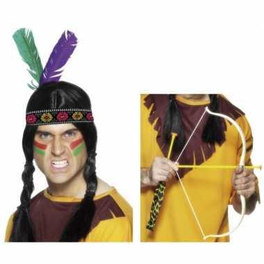 Originele indianen accessoires verkleedset hoofdband pijl boo carnava