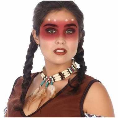 Originele indianen verkleed accessoire ketting kralen veren carnavals