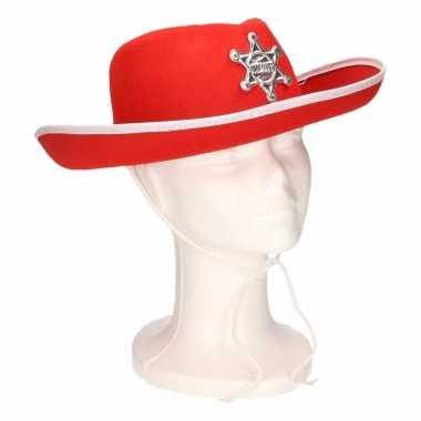 Originele kinder cowboyhoed rood/wit carnavalskleding