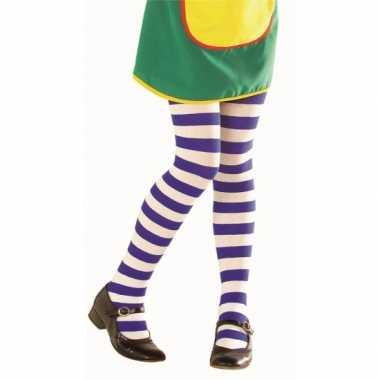 Originele kinder panty blauw witte streep carnavalskleding