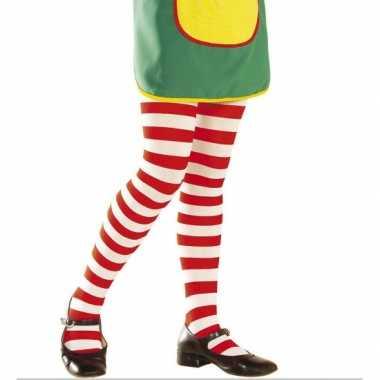 Originele kinder panty tv meisje rood wit carnavalskleding