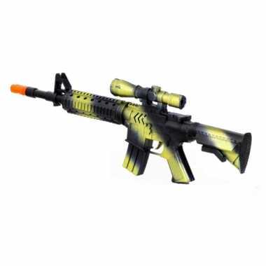 Originele kinder speelgoed verkleedwapen/machinegeweer soldaten/leger geluid carnavalskleding