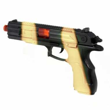 Originele kinder speelgoed verkleedwapen/pistool soldaten/leger licht geluid carnavalskleding