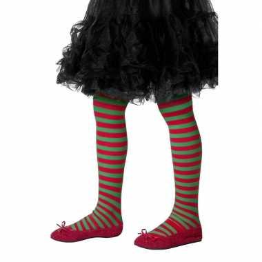 Originele kinderpanty rood groen gestreept carnavalskleding