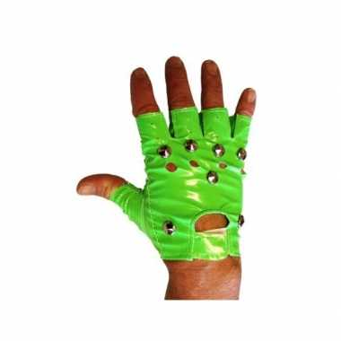 Originele knalgroene biker handschoenen carnavalskleding