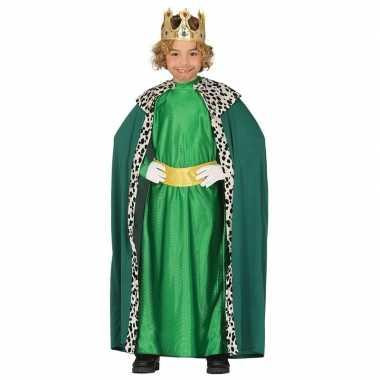 Originele koning mantel groen verkleedcarnavalskleding kinderen