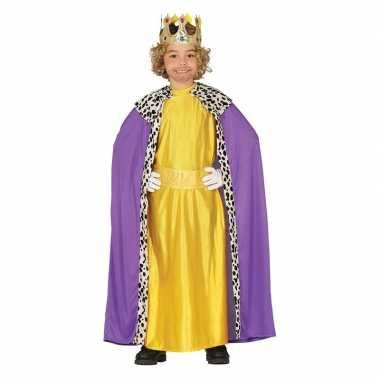 Originele koning mantel paars geel verkleedcarnavalskleding kinderen