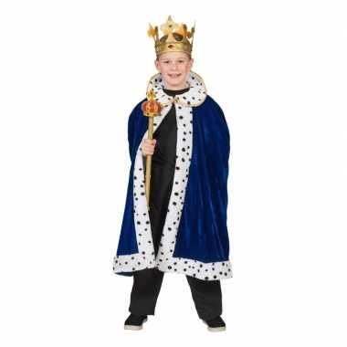Originele koning verkleed cape blauw jongens carnavalskleding