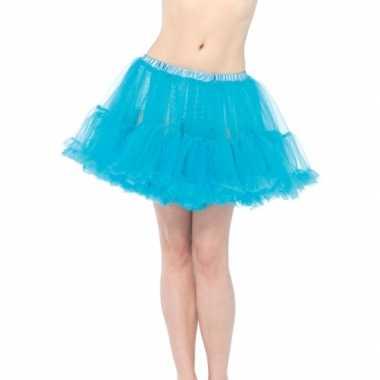 Originele korte turquoise s onderrok dames carnavalskleding