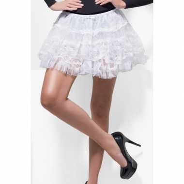 Originele korte witte onderrok petticoat kant carnavalskleding