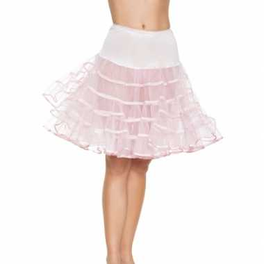 Originele lange licht roze s onderrok dames carnavalskleding