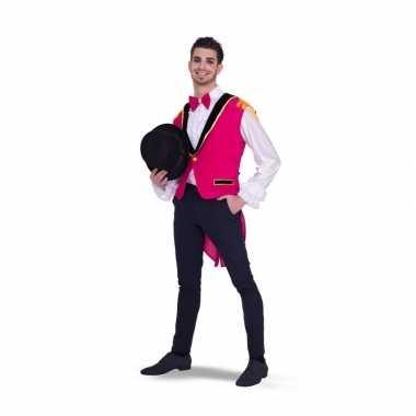 Originele lange roze gilet heren carnavalskleding