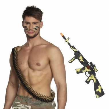 Originele leger accessoires verkleedset kogelriem geweer carnavalskle