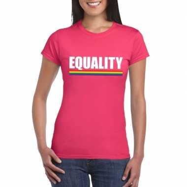 Originele lgbt shirt roze equality dames carnavalskleding