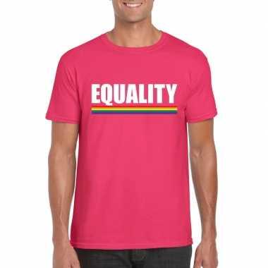 Originele lgbt shirt roze equality heren carnavalskleding