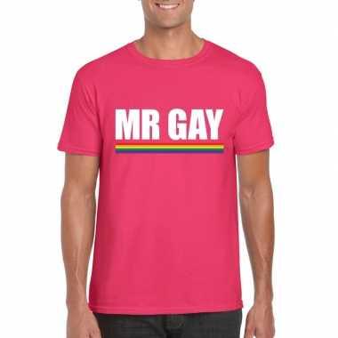 Originele lgbt shirt roze mister gay heren carnavalskleding