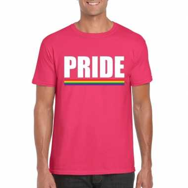 Originele lgbt shirt roze pride heren carnavalskleding