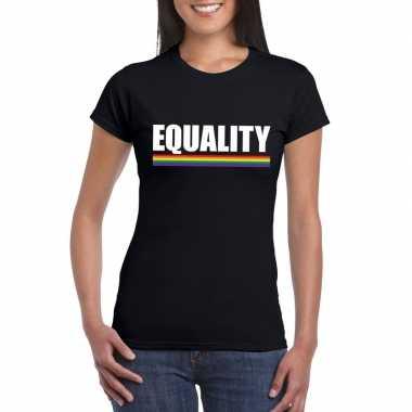 Originele lgbt shirt zwart equality dames carnavalskleding