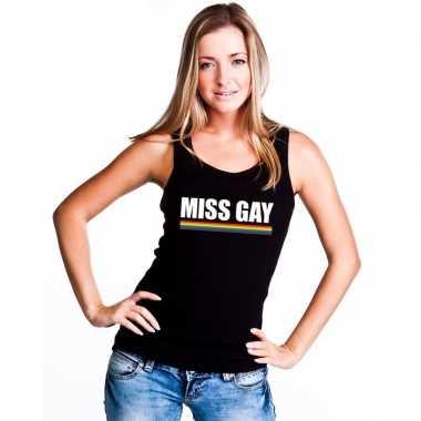 Originele lgbt singlet shirt/ tanktop zwart miss gay dames carnavalsk