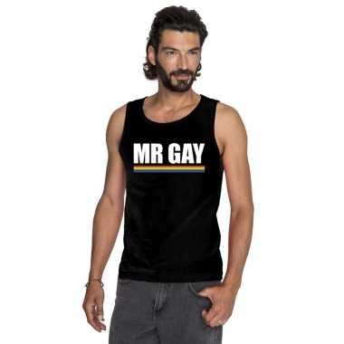Originele lgbt singlet shirt/ tanktop zwart mister gay heren carnaval