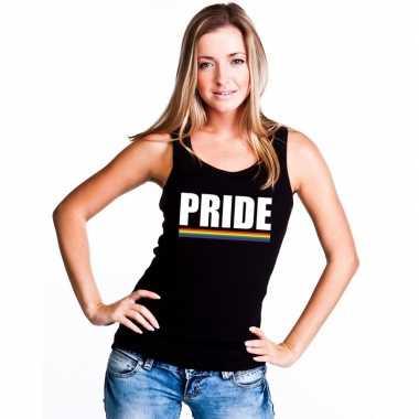 Originele lgbt singlet shirt/ tanktop zwart pride dames carnavalskled