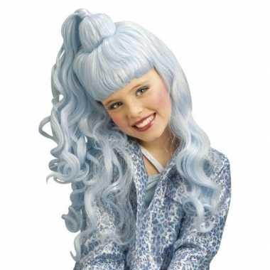 Originele lichtblauwe verkleed pruik krullen kinderen carnavalskledin
