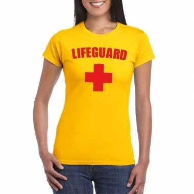Originele lifeguard/ strandwacht verkleed shirt geel dames carnavalsk