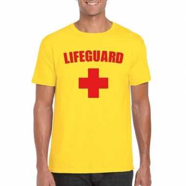 Originele lifeguard/ strandwacht verkleed shirt geel heren carnavalsk