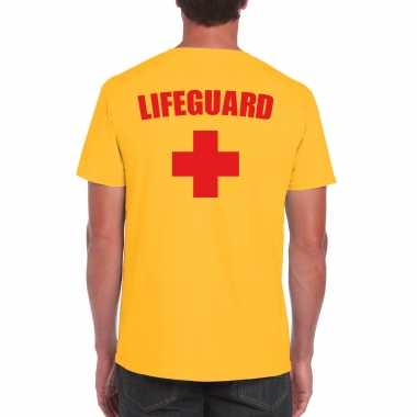 Originele lifeguard/ strandwacht verkleed t shirt / shirt geel heren carnavalskleding
