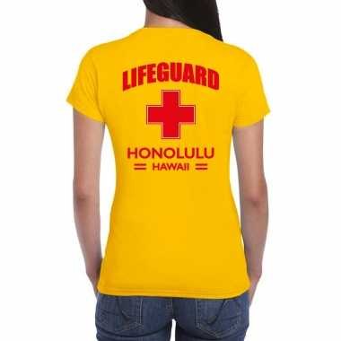 Originele lifeguard/ strandwacht verkleed t shirt / shirt lifeguard honolulu hawaii geel dames carnavalskleding