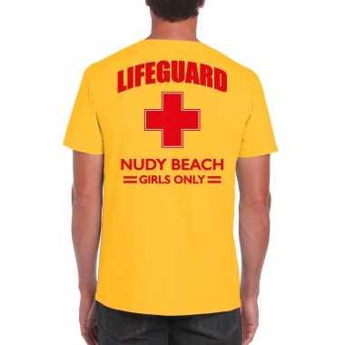 Originele lifeguard/ strandwacht verkleed t shirt / shirt lifeguard nudy beach girls only geel heren carnavalskleding