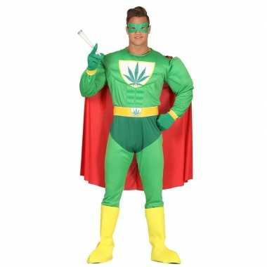 Originele marihuana man superheld verkleed carnavalskleding heren
