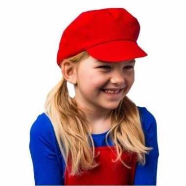 Originele mario kinder verkleed pet/muts rood carnavalskleding