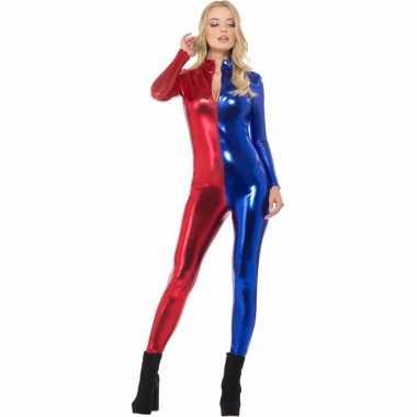 Originele metallic catsuit rood/blauw dames carnavalskleding
