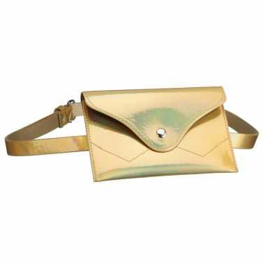 Originele metallic goud mini heuptasje/buideltasje aan riem dames car