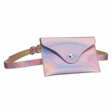 Originele metallic roze mini heuptasje/buideltasje aan riem dames car