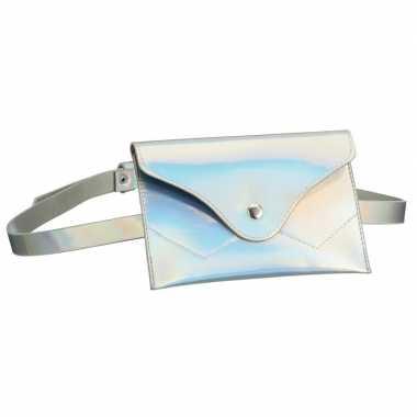 Originele metallic wit mini heuptasje/buideltasje aan riem dames carn