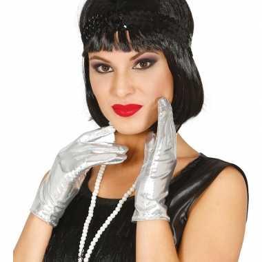 Originele metallic zilveren verkleed handschoenen kort carnavalskledi