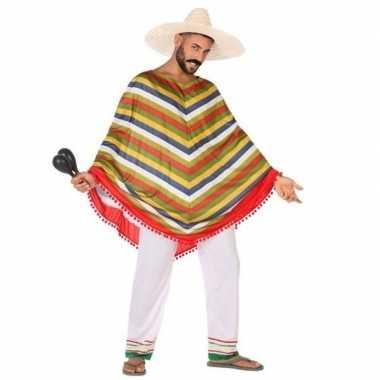 Originele mexicaans verkleed carnavalskleding/poncho heren