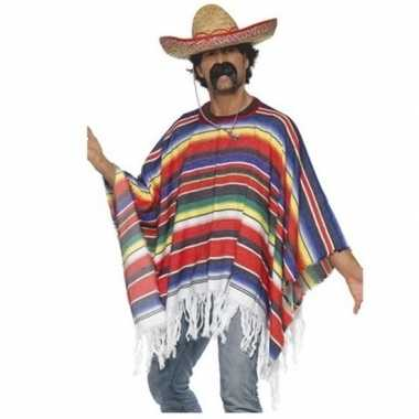 Originele mexicaanse poncho sombrero carnavalskleding
