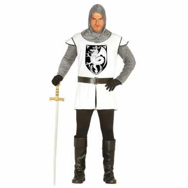 Originele middeleeuwse ridder verkleed carnavalskleding wit heren