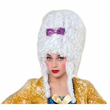 Originele middeleeuwse verkleed pruik barok wit dames carnavalskledin